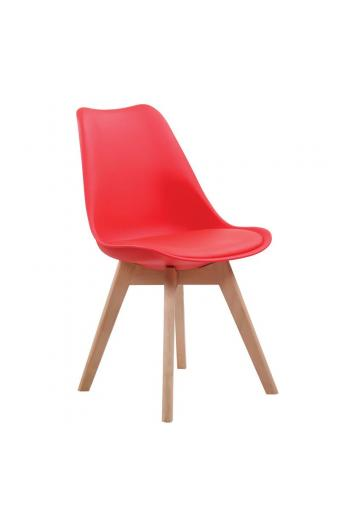 MARTIN Καρέκλα Ξύλο - PP Κόκκινο Μονταρισμένη Ταπετσαρία