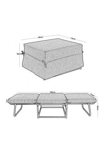 LOGAN Σκαμπό - Κρεβάτι Σαλονιού - Καθιστικού Στρώμα 7cm - Ύφασμα Εκρού