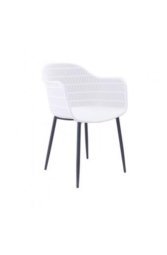 BERRY Πολυθρόνα Μέταλλο Βαφή Μαύρο - PP-UV Λευκό