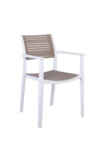 AKRON Πολυθρόνα PP-UV Άσπρο/Sand Beige