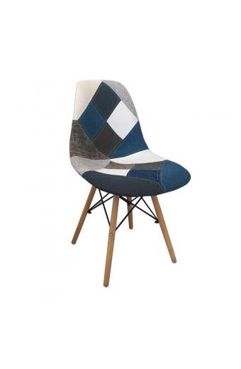 ART Wood καρέκλα Ξύλο-PP/Ύφ.Patchwork Blue