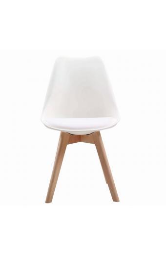 MARTIN Καρέκλα Ξύλο - PP Άσπρο Μονταρισμένη Ταπετσαρία
