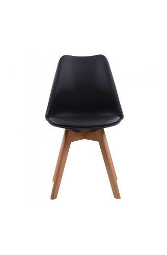 MARTIN Καρέκλα Ξύλο - PP Μαύρο Μονταρισμένη Ταπετσαρία