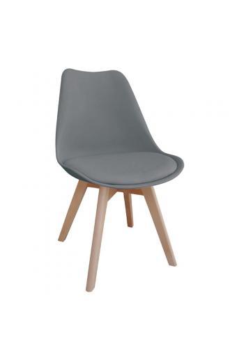 MARTIN Καρέκλα Ξύλο - PP Γκρι Μονταρισμένη Ταπετσαρία