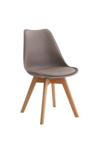 MARTIN Καρέκλα Ξύλο - PP Sand Beige Μονταρισμένη Ταπετσαρία