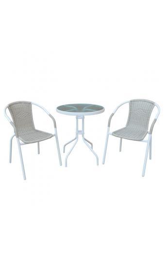BALENO Set Τραπεζαρία Κήπου : Τραπέζι + 2 Πολυθρόνες Μέταλλο Άσπρο / Wicker Beige