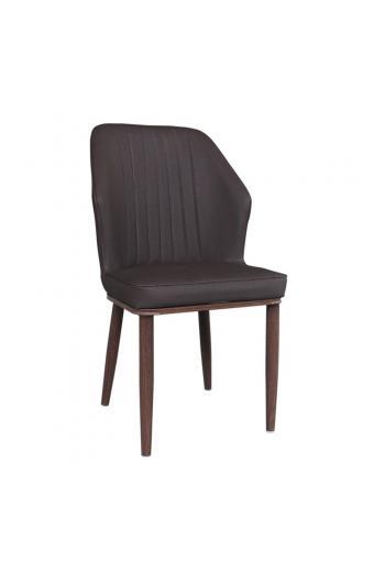 DELUX Καρέκλα Μέταλλο Βαφή Καρυδί  - Linen PU Σκούρο Καφέ