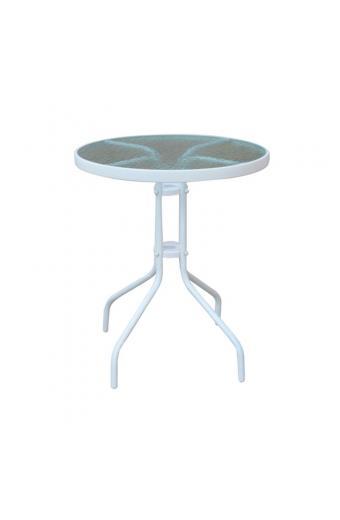 BALENO Τραπέζι Μέταλλο Βαφή Άσπρο - Γυαλί Tempered