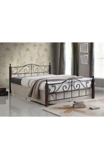 ADEL κρεβάτι διπλό Μέταλλο μαύρο/Ξύλο καρυδί