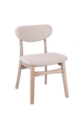 KITTY Καρέκλα Smoke Beech/Ύφασμα Εκρού