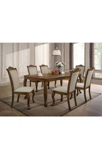 DELINE Set Τραπεζαρία Σαλονιού Ξύλινη : Τραπέζι + 6 Καρέκλες Ανοιχτό Καρυδί - Ύφασμα Μπεζ