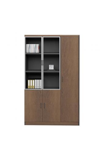 PROLINE Ντουλάπα - Βιβλιοθήκη Γραφείου Δεξιά, Πεντάφυλλη (2 Γυάλινα) Καρυδί Δρυς-Μαύρο