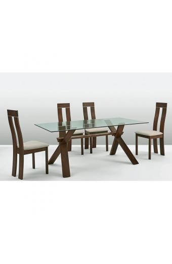 PELLA Set Τραπεζαρία Σαλονιού- Κουζίνας Τραπέζι + 4 Καρέκλες Καρυδί Burn Beech -Ύφασμα Μπεζ