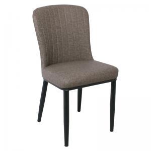 NEWTON Καρέκλα Μεταλ. Βαφή Μαύρη/LinenPU Καφέ