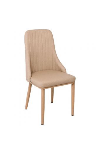 MATTEL Καρέκλα Μεταλλική Φυσικό/Linen PU Μπεζ
