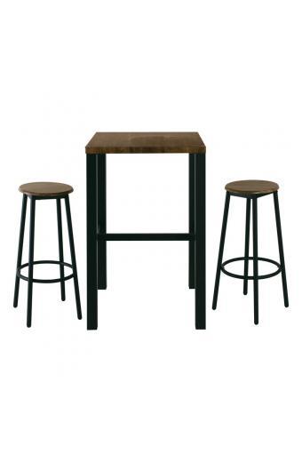 MAYER Set Bar Τραπέζι + 2 Σκαμπώ Μέταλλο Βαφή Ανθρακί - Antique Brown