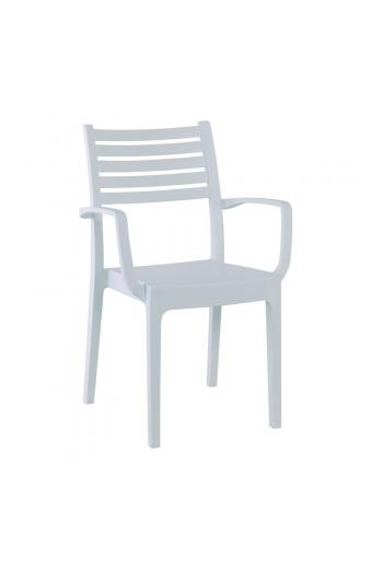 OLIMPIA Πολυθρόνα Στοιβαζόμενη Πλαστική Άσπρη