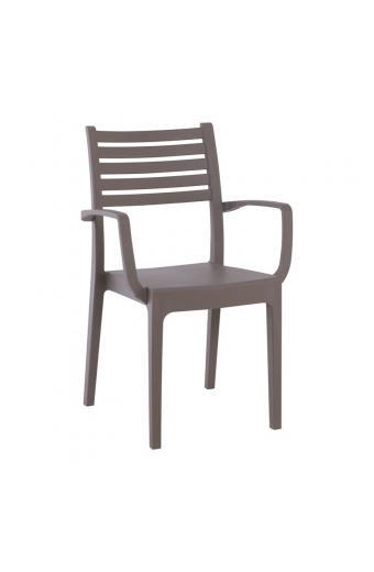 OLIMPIA Πολυθρόνα Στοιβαζόμενη Πλαστική Tortora