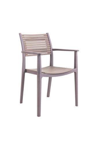 AKRON Πολυθρόνα PP-UV Καφέ/Sand Beige