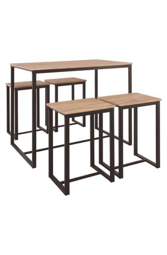 HENRY Set Bar Τραπέζι + 4 Σκαμπώ Μέταλλο Βαφή Σκούρο Καφέ - Sonoma