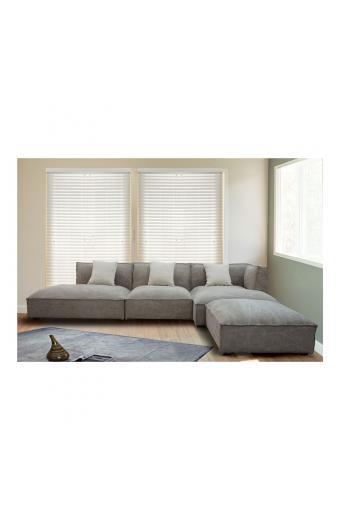 ALBERT καναπές γωνία αριστερή Ύφασμα Γκρι-Καφέ