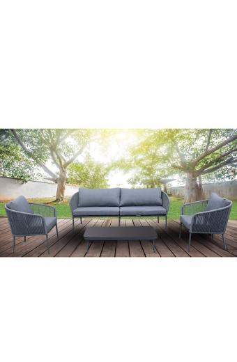 DONATO Set Σαλόνι Καθιστικό / Κήπου - Βεράντας / Alu / Rope Γκρι
