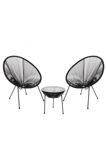 ACAPULCO Coffee Set Καθιστικό Κήπου : Τραπέζι + 2 Πολυθρόνες Μέταλλο Μαύρο / Rattan Μαύρο