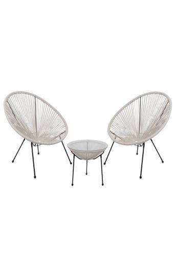 ACAPULCO Coffee Set Καθιστικό Κήπου : Τραπέζι + 2 Πολυθρόνες Μέταλλο Μαύρο / Rattan Άσπρο