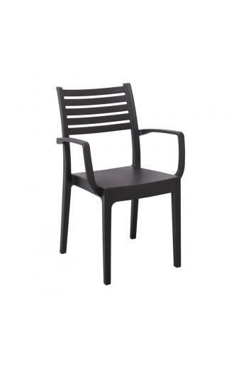 OLIMPIA Πολυθρόνα Στοιβαζόμενη Πλαστική Καφέ