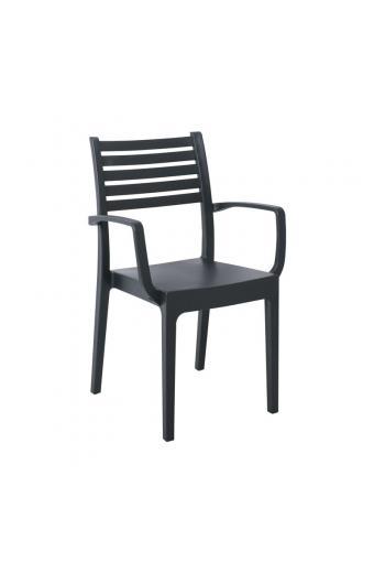 OLIMPIA Πολυθρόνα Στοιβαζόμενη Πλαστική Ανθρακί