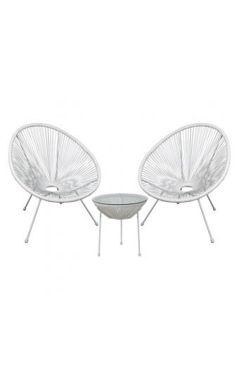 ACAPULCO Coffee Set Καθιστικό Κήπου : Τραπέζι + 2 Πολυθρόνες Μέταλλο Άσπρο/Rattan Άσπρο