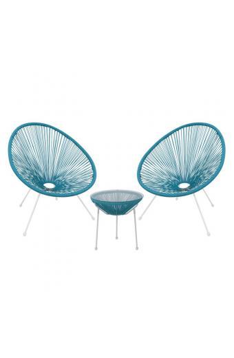ACAPULCO Coffee Set Καθιστικό Κήπου : Τραπέζι + 2 Πολυθρόνες Μέταλλο Άσπρο / Rattan Μπλε