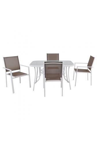 LANSON Set Τραπεζαρία Κήπου: Τραπέζι + 4 Πολυθρόνες Μέταλλο Βαφή ΆσπροTextilene Cappuccino