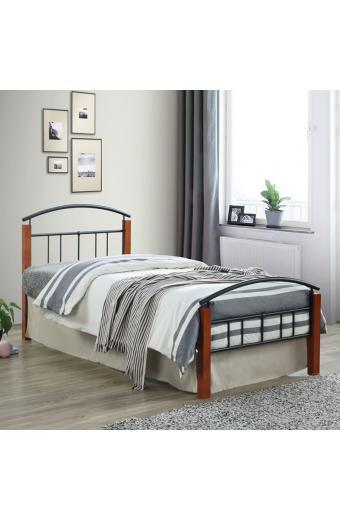 DOKA κρεβάτι μονό Μέταλλο μαύρο/Ξύλο καρυδί