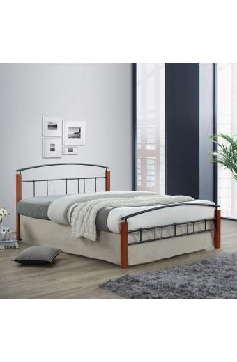 DOKA κρεβάτι διπλό Μέταλλο μαύρο/Ξύλο καρυδί