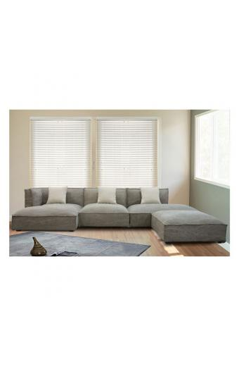 ALBERT καναπές γωνία δεξιά Ύφασμα Γκρι-Καφέ