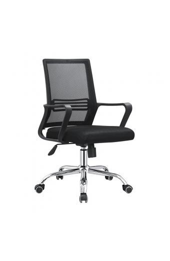 BF2110 Πολυθρόνα Γραφείου Μέταλλο Χρώμιο - Mesh Μαύρο