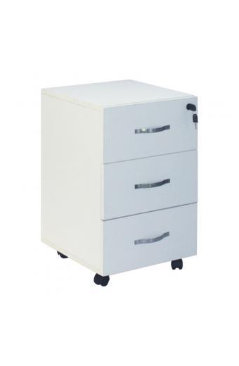 UNIT Συρταριέρα Γραφείου - 3 Συρτάρια - Τροχήλατη - Melamine Απόχρωση Άσπρο