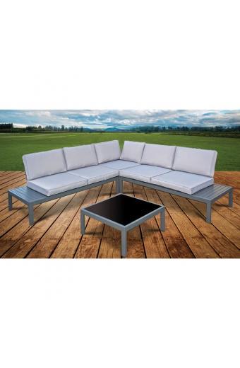 HARBOR Set Καθιστικό Βεράντας Κήπου Τραπεζάκι + Καναπέ Γωνία Μέταλλο Ανθρακί Μαξιλάρια Γκρι