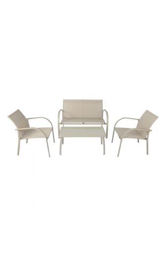 NAC Set Σαλόνι Κήπου K/D Μέταλλο Sand-Textilene Μπεζ : Τραπέζι+2Θέσιος+2 Πολυθρόνες