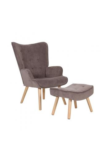 ALMA Πολυθρόνα+Σκαμπώ Ξύλο/Ύφασμα Καφέ Velure