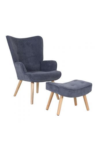 ALMA Πολυθρόνα+Σκαμπώ Ξύλο/Ύφασμα Αν.Μπλε Velure