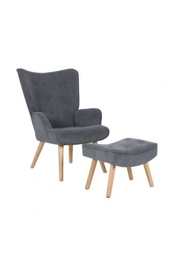 ALMA Πολυθρόνα+Σκαμπώ Ξύλο/Ύφασμα Γκρι Velure