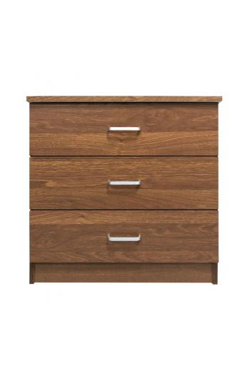 DRAWER Συρταριέρα με 3 Συρτάρια - Απόχρωση Καρυδί