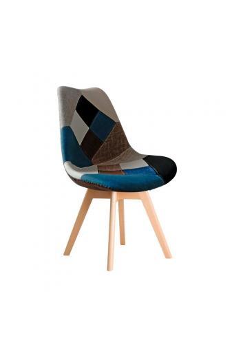 MARTIN Kαρέκλα Ξύλο PP - Ύφασμα Patchwork Blue