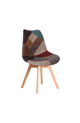 MARTIN Kαρέκλα Ξύλο PP - Ύφασμα Patchwork Καφέ