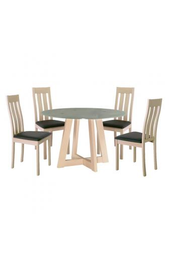 NARDA-REGO Set Τραπεζαρία Σαλόνι - Κουζίνα: Τραπέζι + 4 Καρέκλες White Wash -Pvc Μαύρο