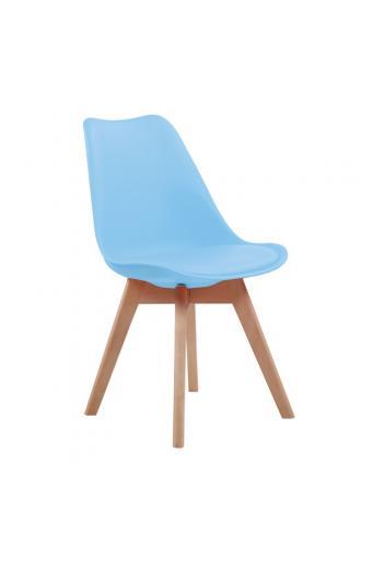 MARTIN Καρέκλα Ξύλο - PP Σιέλ Μονταρισμένη Ταπετσαρία