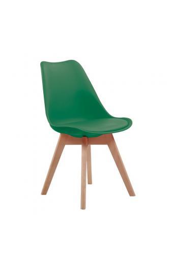 MARTIN Καρέκλα Ξύλο - PP Πράσινο Μονταρισμένη Ταπετσαρία