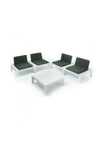 API Set Σαλόνι Πολυμορφικό Πλαστικό Άσπρο με μαξιλάρια Σετ Βεράντας